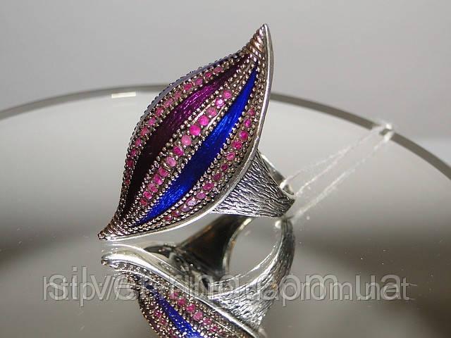Эксклюзивные кольца — Кольцо с позолотой, рубином и эмалью