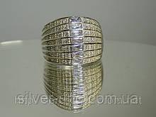 Широке кільце з цирконієм, срібло 925 проби