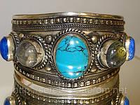 Женский мельхиоровый браслет с натуральными камнями: лазурит, лабрадорит, бирюза, фото 1