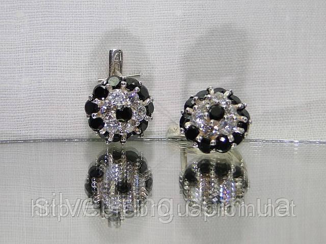 Серебряные сережки с разноцветными фианитами «Малинка»