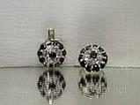 Серебряные сережки с разноцветными фианитами «Малинка», фото 2