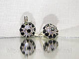 Серебряные сережки с разноцветными фианитами «Малинка», фото 3