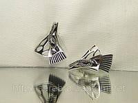 Серебряные серьги без камней, безкаменка, фото 1