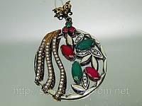 Подарки  Серебряный подвес с позолотой, рубинами, изумрудами и циркониями