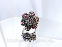 Винтажное серебряное кольцо с рубином и марказитами, фото 1