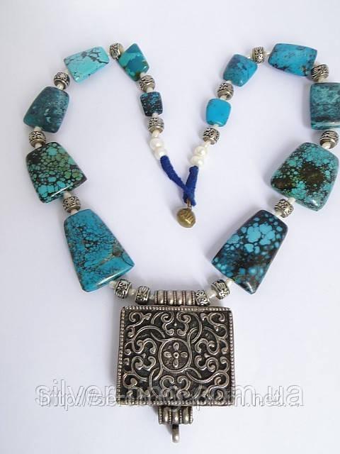Этническое украшение из натуральной бирюзы. Непал