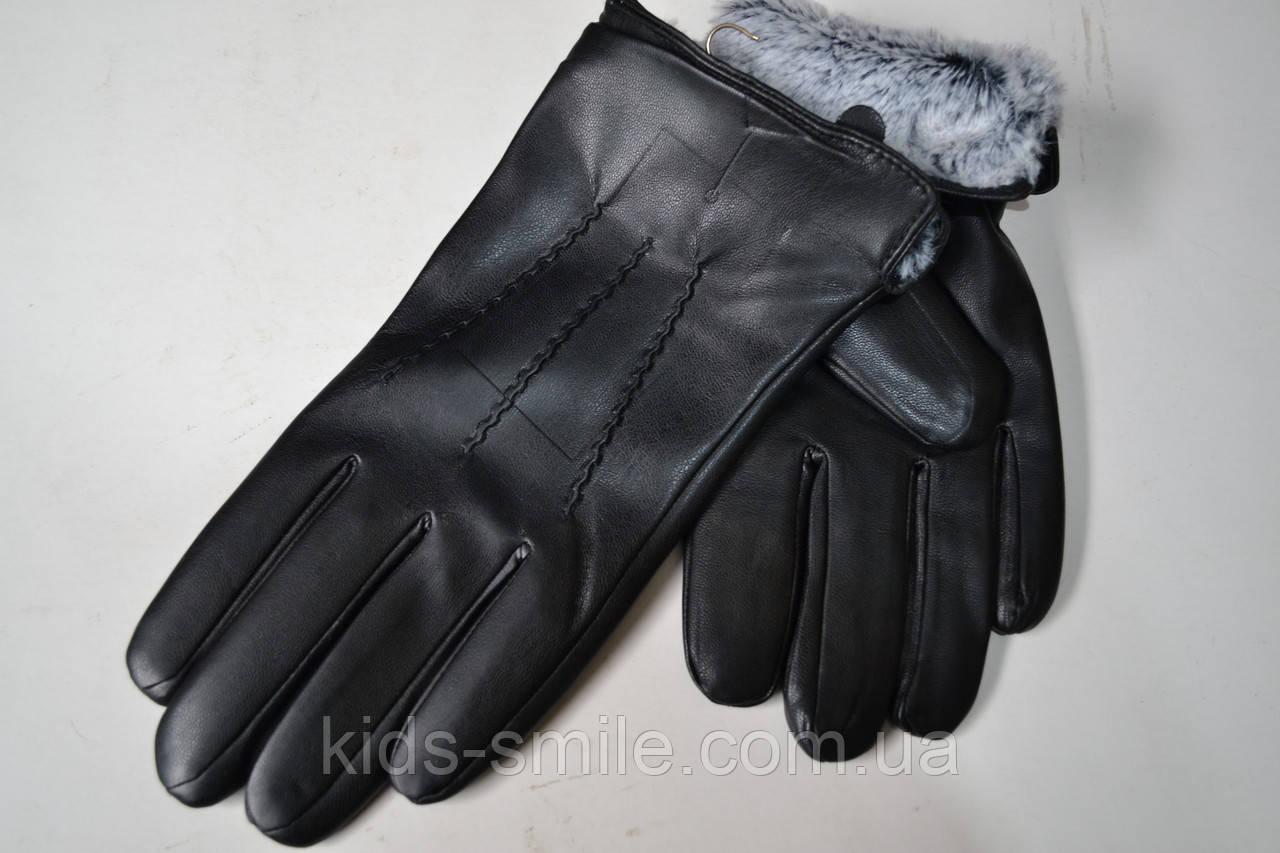 Мужские перчатки теплые на меху (кожа)