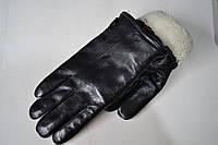 Мужские перчатки теплые кожаные на меху