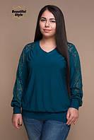 Женский блузон с гипюром Амина