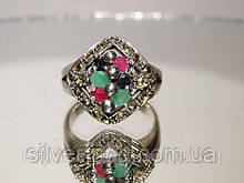Перстень зі срібла з дорогоцінними каменями