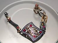 Черненый браслет с позолотой и рубинами, ручная работа