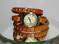 """Женские часы с кожаным ремешком """"Оранжевые"""", фото 1"""