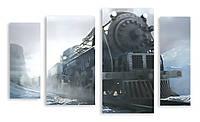 Модульная картина поезд 3д