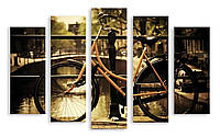 Модульная картина велосипед над каналом