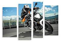 Модульная картина мотоциклист на байке