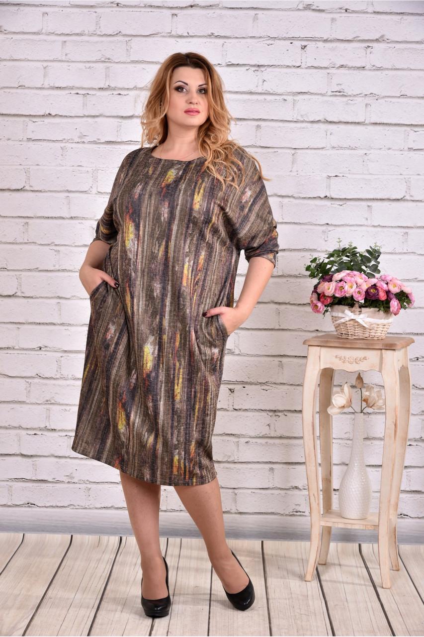 Женское теплое платье из ангоры 0644 цвет бежевый / размер 42-74 / баталл
