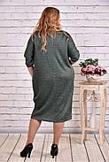 Женское теплое платье из ангоры 0644 цвет зеленый / размер 42-74 / баталл, фото 4