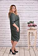Женское теплое платье из ангоры 0644 цвет зеленый / размер 42-74 / баталл, фото 2