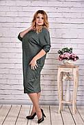 Женское теплое платье из ангоры 0644 цвет зеленый / размер 42-74 / баталл, фото 3
