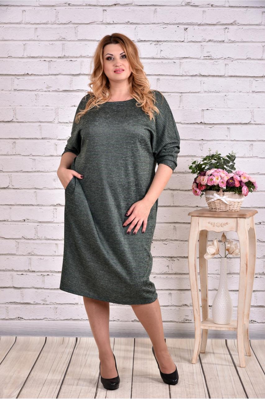 Женское теплое платье из ангоры 0644 цвет зеленый / размер 42-74 / баталл