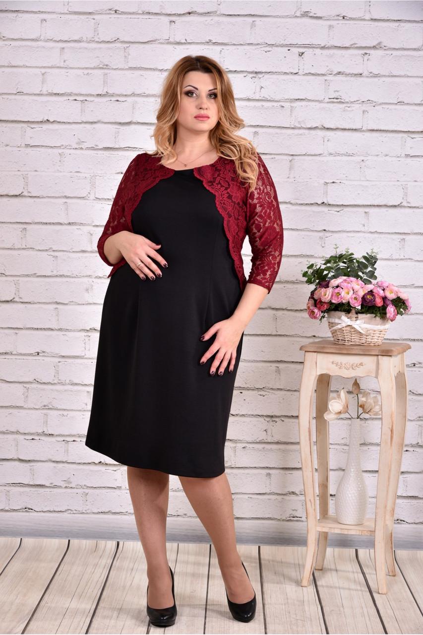 Женское стильное платье с гипюром 0643  / размер 42-74 / баталл