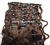Набор натуральных вьющихся волос на клипсах 52 см. Оттенок №2. Масса: 110 грамм.