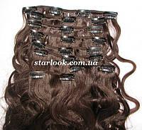 Набор натуральных вьющихся волос на клипсах 52 см. Оттенок №2. Масса: 110 грамм., фото 1