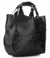 Черная элегантная женская сумка LA SPEZIA  из натуральной кожи, Италия + большая косметичка