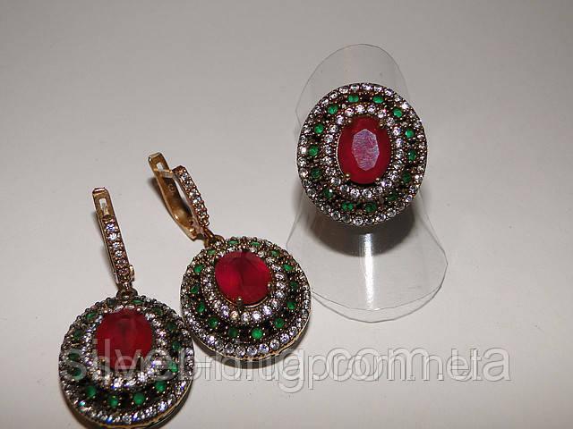 Женский гарнитур с рубином и изумрудами