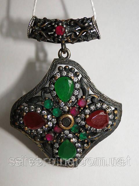 Кулон из черненого серебра в этническом стиле