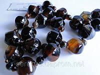 """Ожерелье из темного """"тигрового"""" агата"""