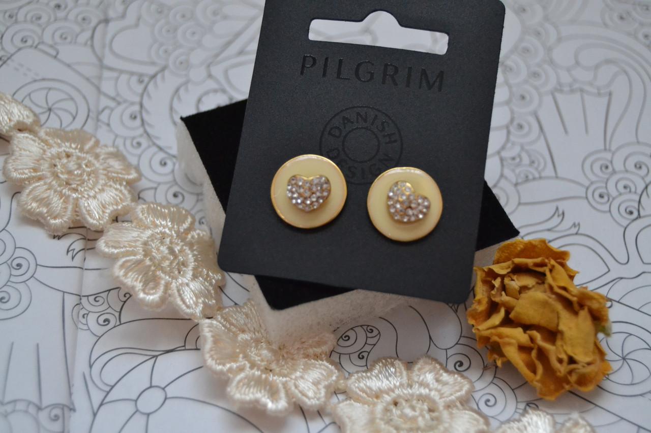 Серьги-пуссеты 2 в 1 с камнями Pilgrim