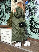 Стеганное женское пальто на зиму