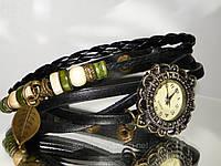 Женские часы плетеные черные, фото 1