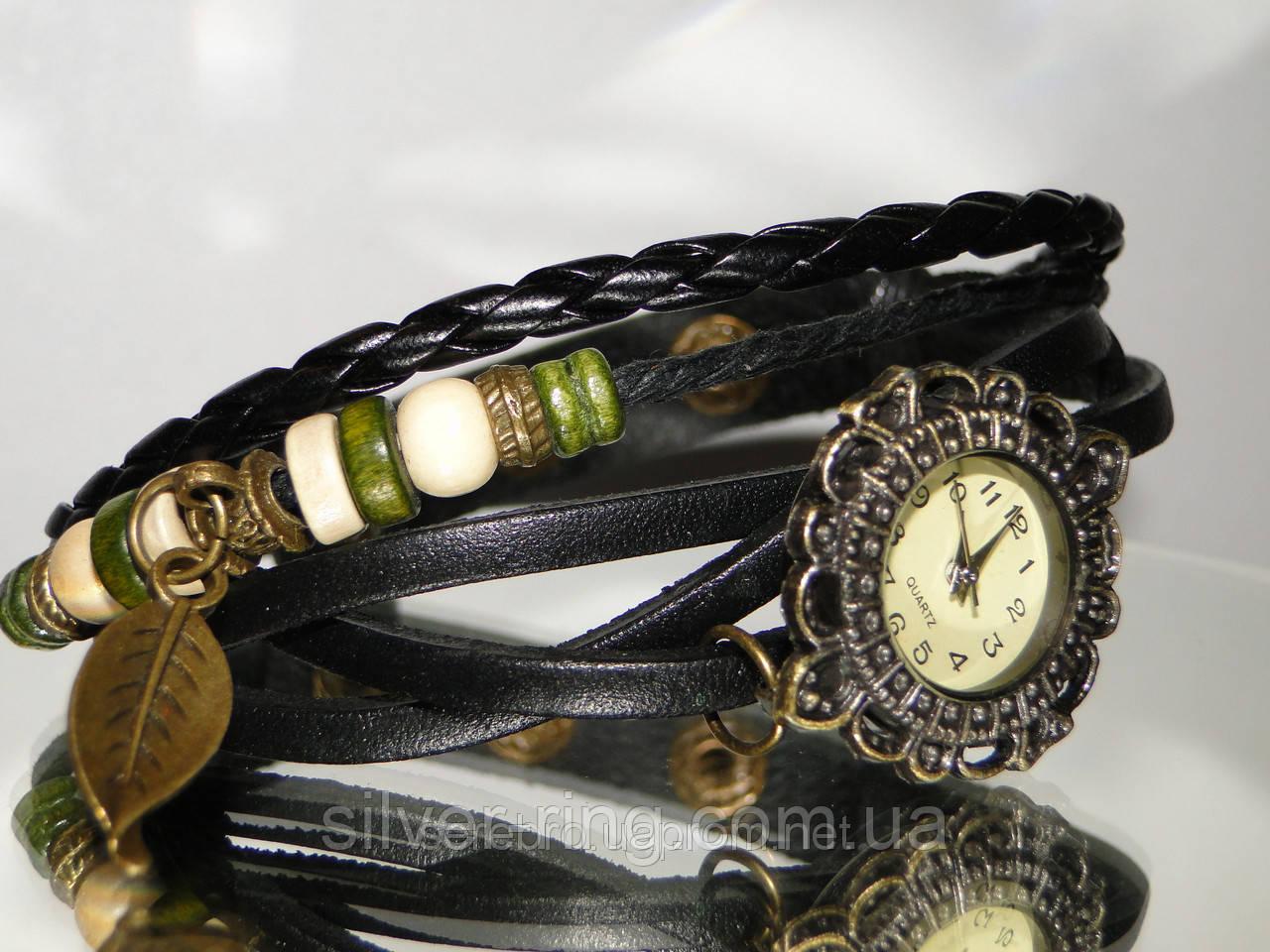 Женские часы плетеные черные