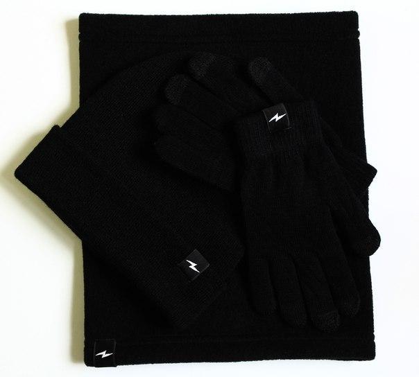 Подарочный Наборы Комплект шапка+баф+перчатки Transmod - Classic Black(Унисекс\Мужской\Женский) - Unitedshop в Черновицкой области