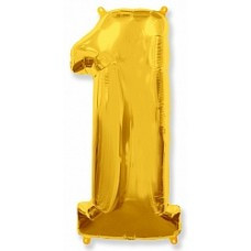 """Надувная фольгированная цифра """"1"""" золото 102 см"""