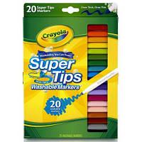 Детские фломастеры Super Tips Washable в наборе 20 цветов, Crayola (Крайола)