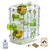 Трех уровневая клетка для хомяка, мыши, грызунов  + опилки + корм 10 Зеленый