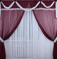 Ламбрекен №6(3м) + шторы из шифона.  Цвет бордовый. 006лш (1,5м*2,9м) У