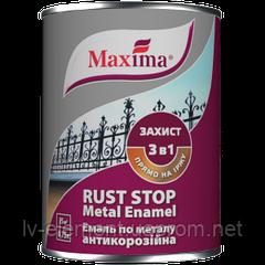 """Эмаль антикоррозийная по металлу 3 в 1 """"Rust stop metal enamel"""" ТМ """"Maxima"""" гладкая черный 0,75 л"""