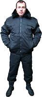 """Куртка утепленная """"Пилот"""", мужская черная куртка с капюшоном, куртка для охраны зимняя. Доставка по Украине"""