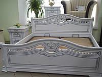 Деревянная белая кровать Орхидея с двумя прикроватными тумбами
