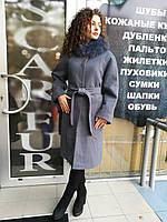 Длинное пальто, мех песца на воротнике - съемный, фото 1