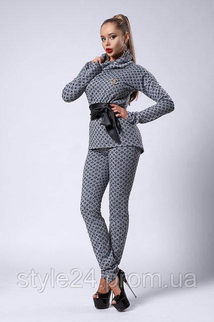 ЖІночий брючний костюм з поясом та брошкою Шанель.Р-ри 42-48 - 87524e7cd83fb
