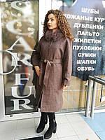 Длинное пальто с поясом, мех песца - съемный, фото 1