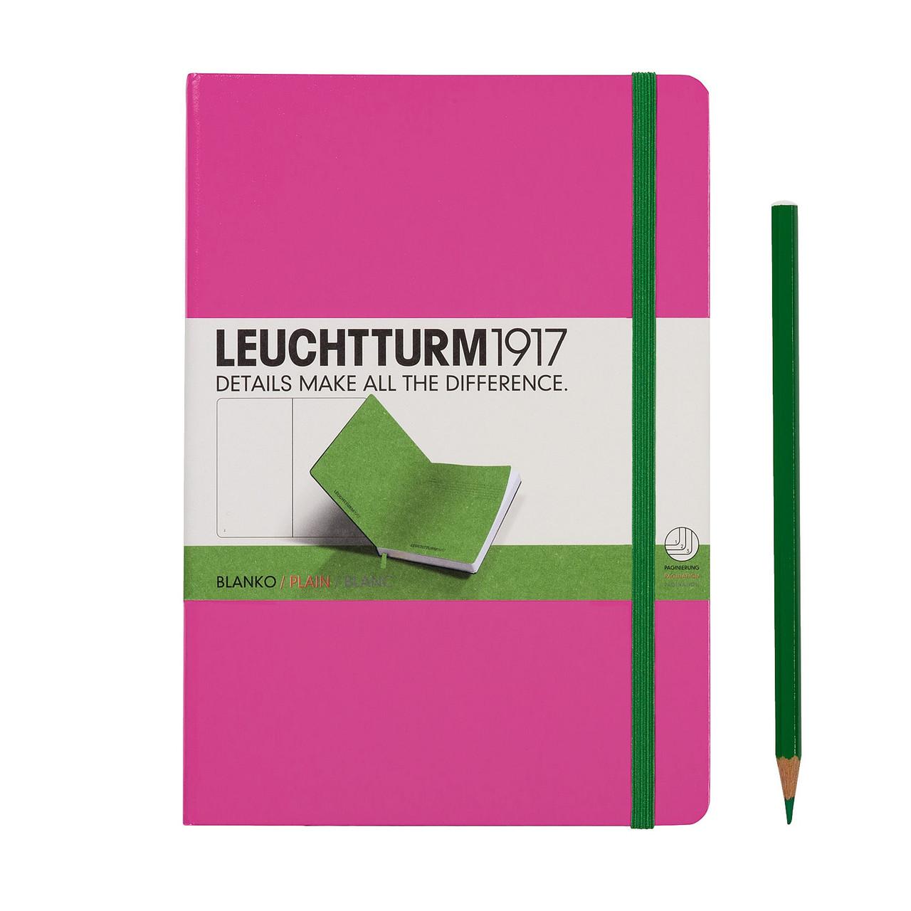 Блокнот Leuchtturm1917 двухцветный Средний (A5) Розовый-зелёный с Чистыми листами (14,5х21 см) (343154), фото 1