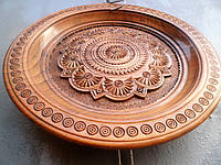 Тарелка декоративная, деревянная, 1 , ручная резьба