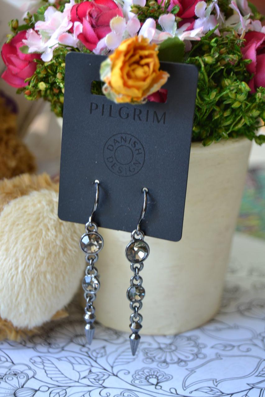 Серьги с гематитовым покрытием и камнями Pilgrim