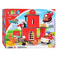 Детский конструкторПожарная станция JDLT 5155, 63 детали, звук, свет